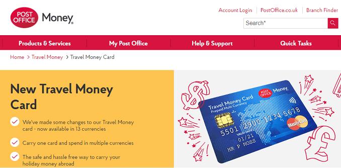 Post office travel money homepage screenshot