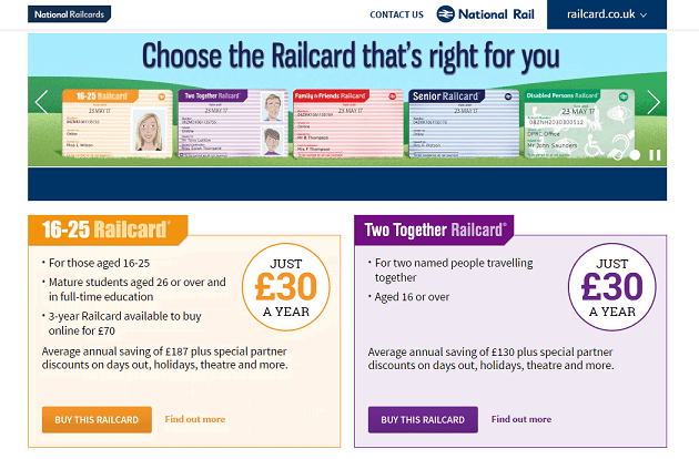 Railcard Homepage Screenshot