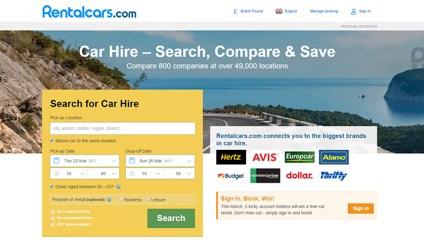 Rentalcars.com Homepage Screenshot