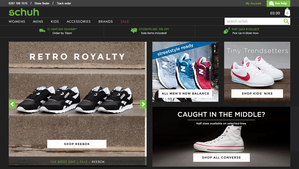 Schuh Footwear Homepage Screenshot