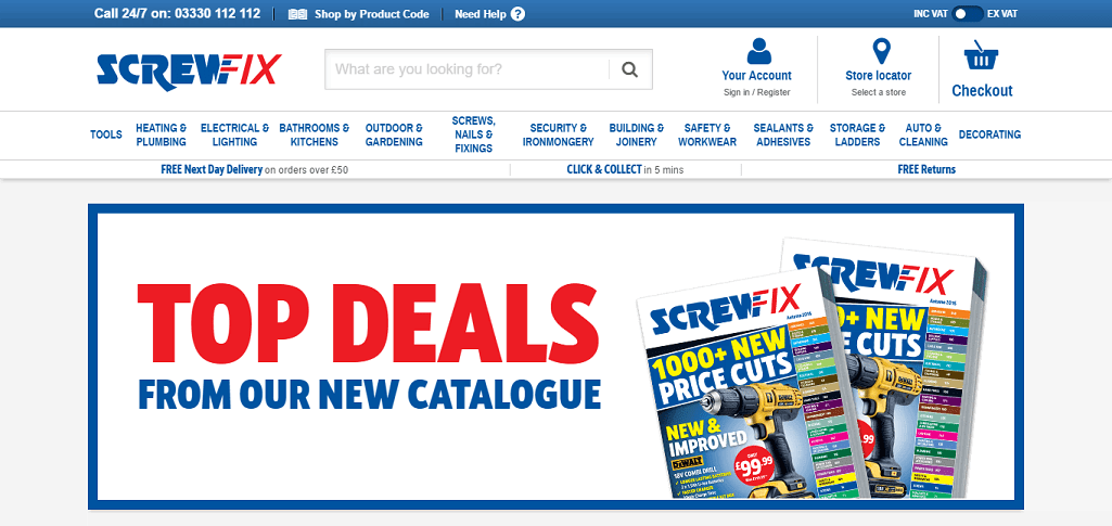 Screwfix Homepage Screenshot