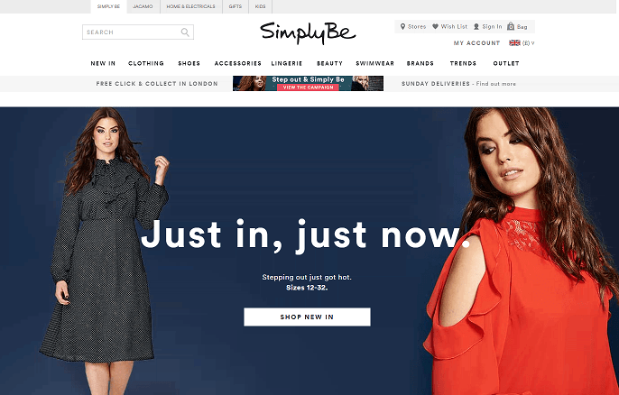 Simply Be Homepage Screenshot
