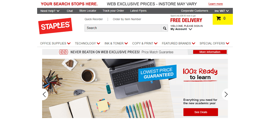 Staples Homepage Screenshot