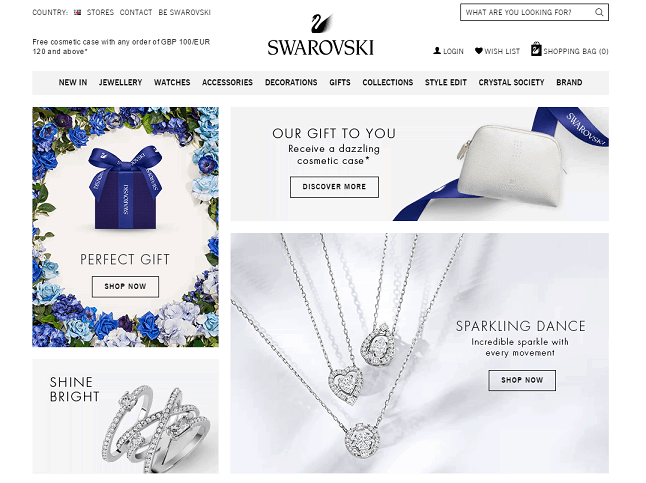 Swarovski Crystal Homepage Screenshot