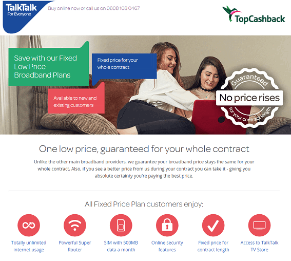 TalkTalk Homepage Screenshot