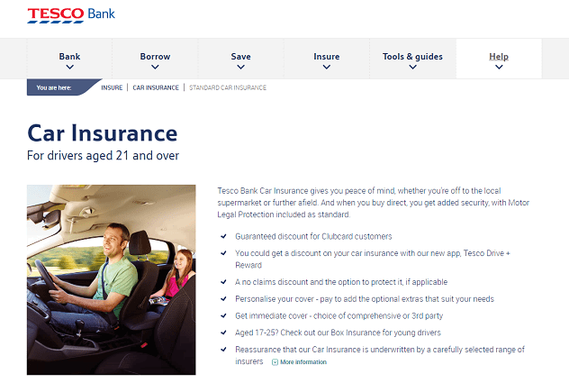 Tesco Bank Car Insurance Homepage Screenshot