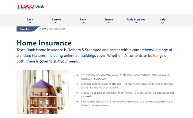 Tesco Bank Home Insurance Homepage Screenshot