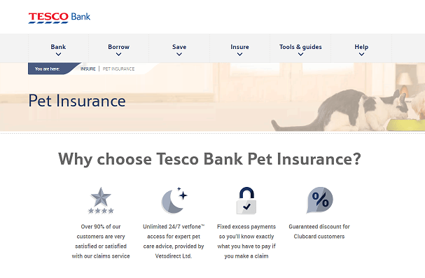 Tesco Bank Pet Insurance Homepage Screenshot