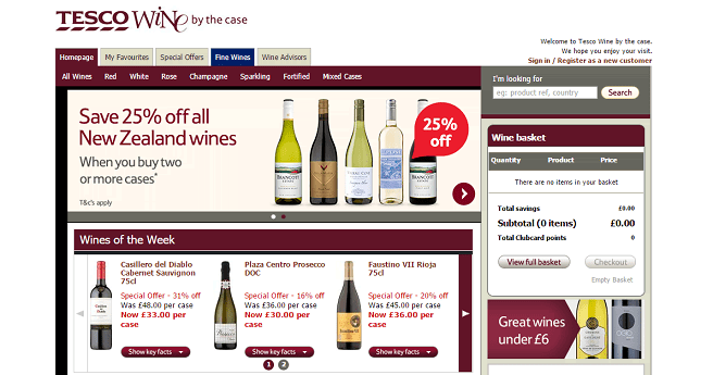 Tesco Wine By The Case Homepage Screenshot