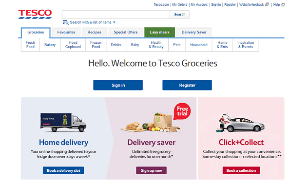 Tesco Groceries Offer Online Food Shopping & Delivery Across the UK & NI. Next Day Delivery, 7 Days a Week. Earn Clubcard Points When You Shop. Get Everything You Need Delivered Straight to Your Door. Same Day Delivery in Selected Areas. Start your Food Shop at Tesco Today.