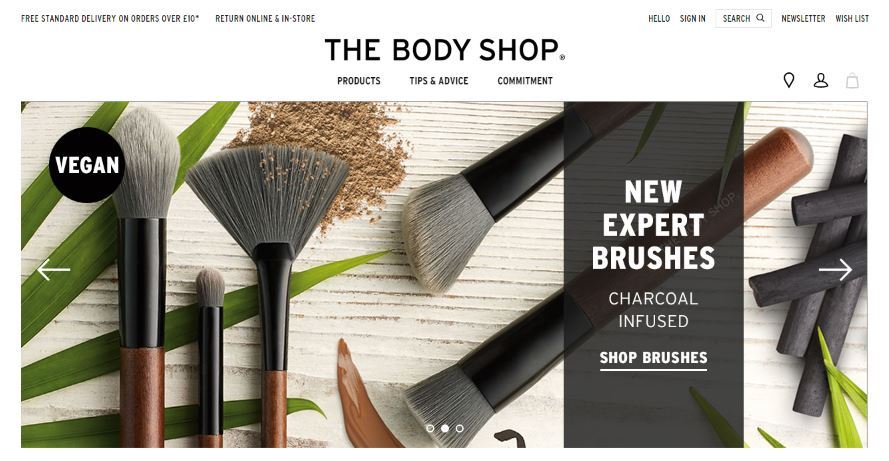 The Body Shop Homepage Screenshot