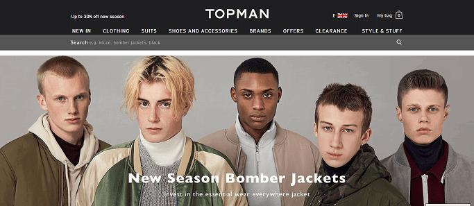 Topman Homepage Screenshot