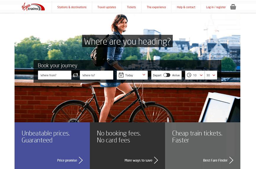 Virgin Trains Homepage