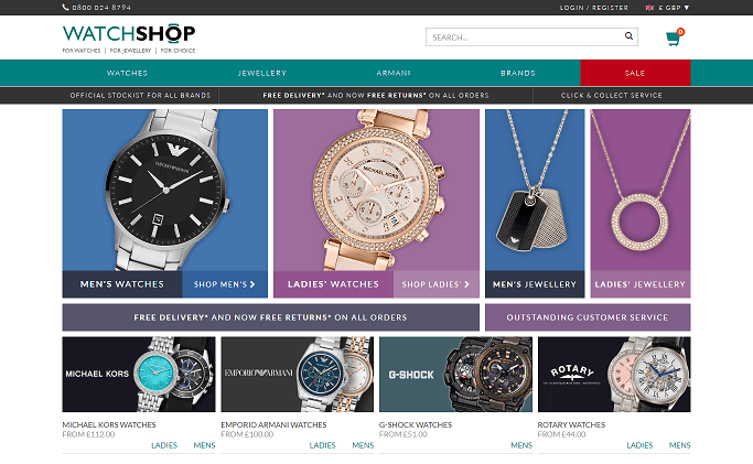The Watch Shop Homepage Screenshot