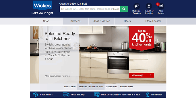 Wickes Homepage Screenshot