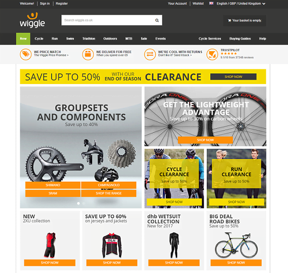 Wiggle Online Bikeshop homepage screenshot
