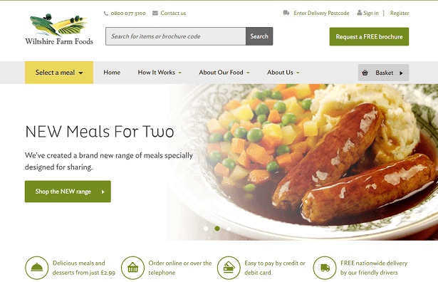 Wiltshire Farm Foods Homepage Screenshot