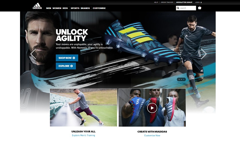 Adidas Homepage Screenshot
