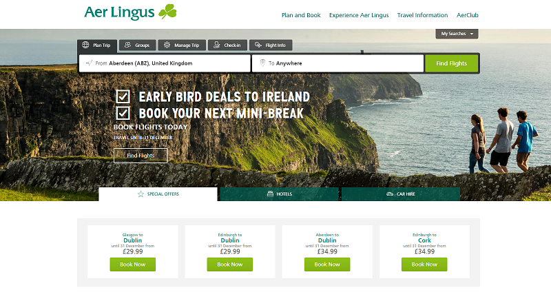 Aer Lingus Homepage Screenshot