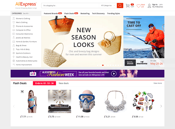 Aliexpress Homepage Screenshot