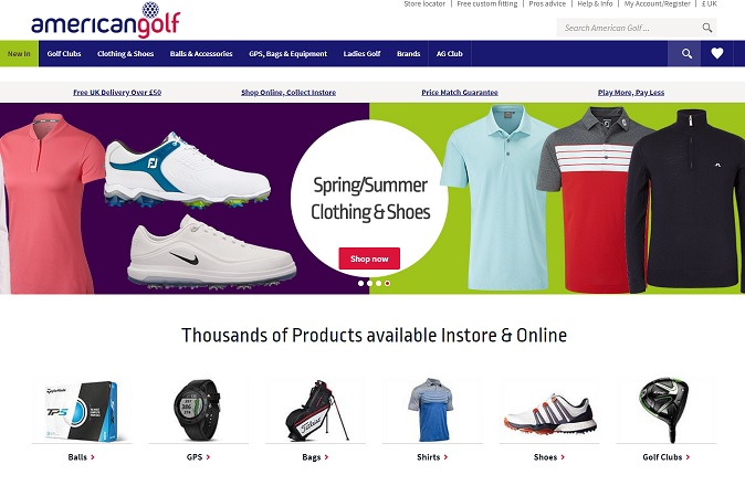 American Golf Homepage Screenshot