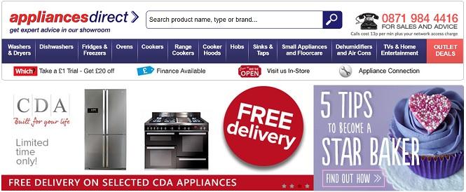 Appliances Direct Homepage Screenshot