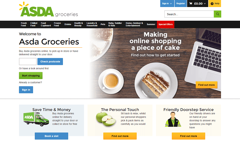Asda Homepage Screenshot