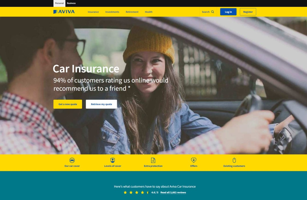 Aviva Car Insurance Homepage Screenshot