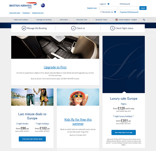 British Airways Homepage Screenshot