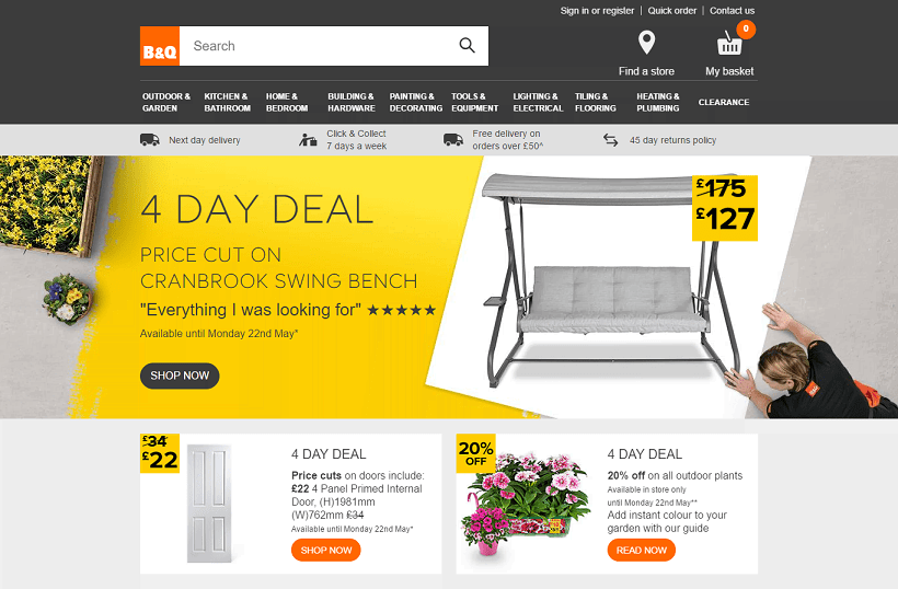 B&Q Homepage Screenshot
