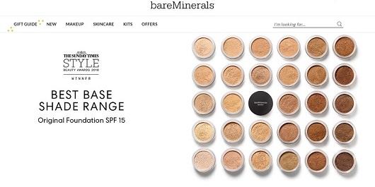 bareMinerals Homepage Screenshot