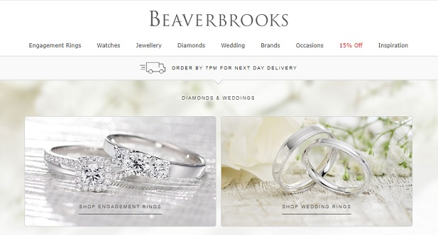 Beaverbrooks Homepage Screenshot