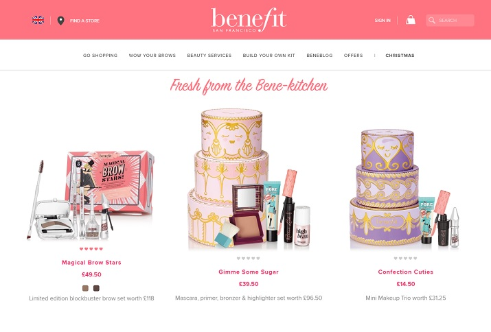 Benefit Cosmetics Homepage