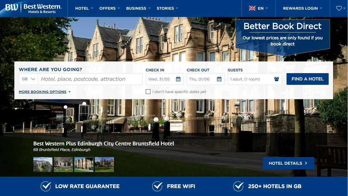 Best Western Homepage Screenshot