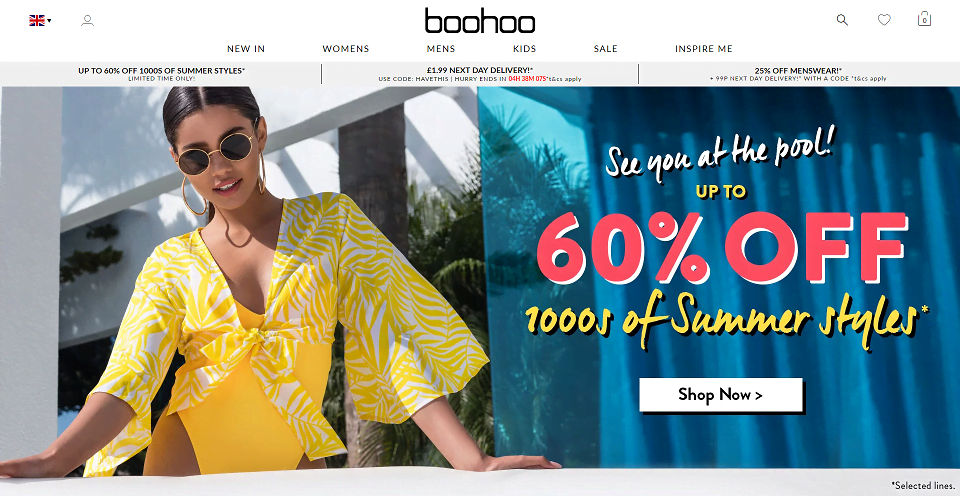 Boohoo.com Homepage Screenshot