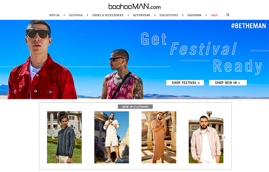 boohooMAN Homepage Screenshot