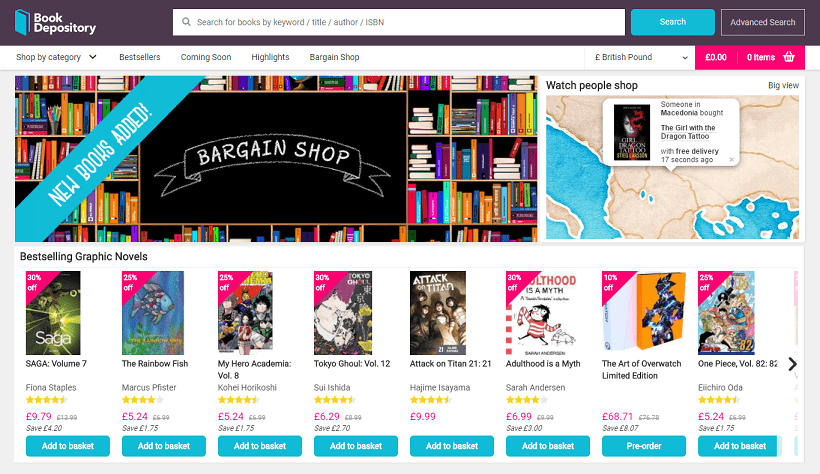 Book Depository Homepage Screenshot
