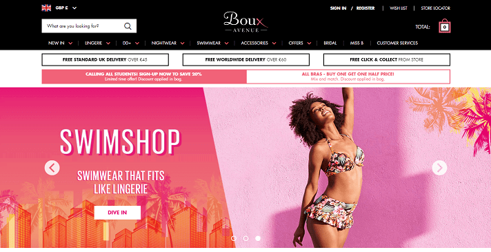 Boux Avenue Homepage Screenshot