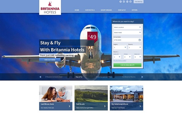 Britannia Hotels Homepage Screenshot