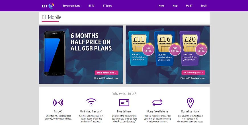 BT Mobile Homepage Screenshot