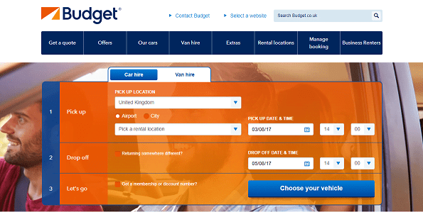 Budget Car Hire Homepage Screenshot