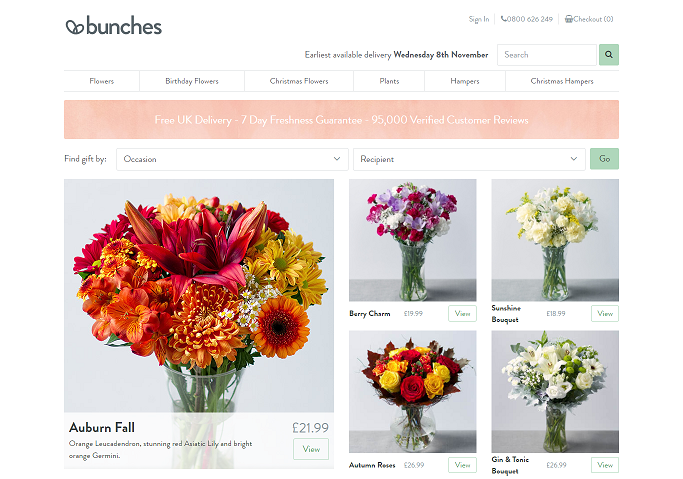 Bunches' Homepage Screenshot