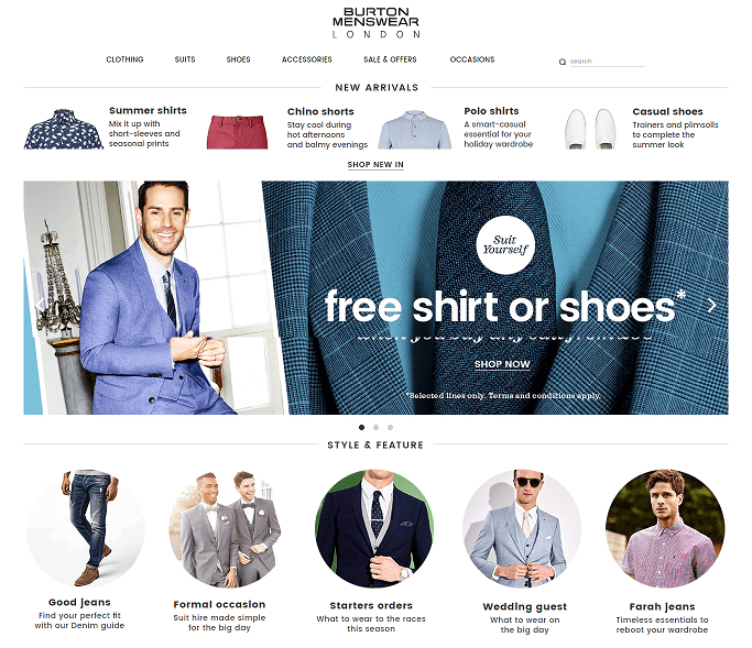 Burton Menswear Homepage Screenshot