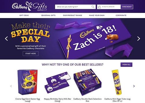 Cadbury Gifts Direct Homepage Screenshot