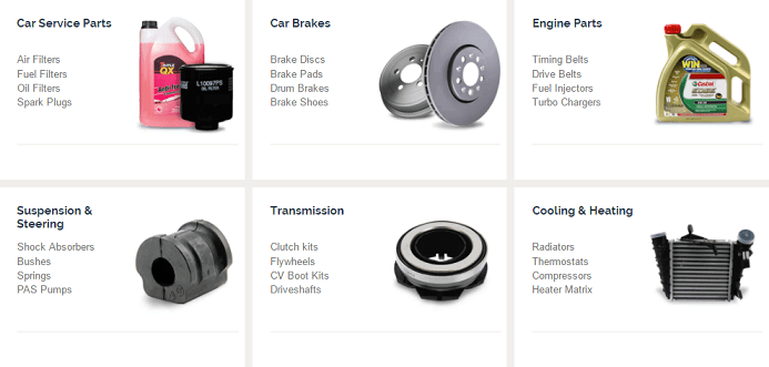 CarParts4Less Categories Screenshot