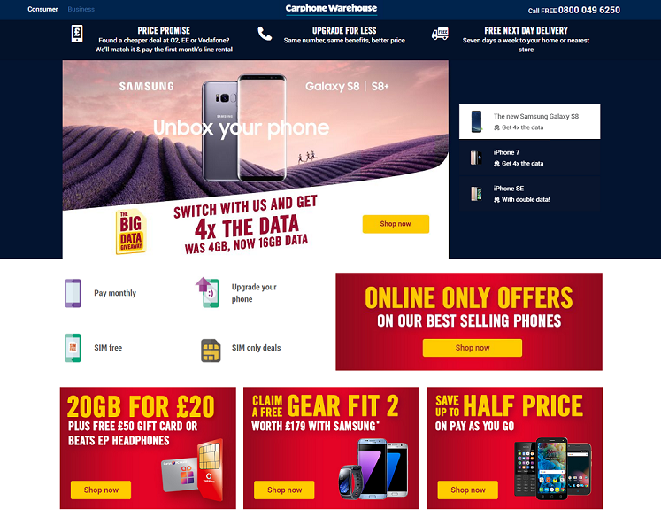 Carphone Warehouse Discount Codes, Sales, Cashback Offers