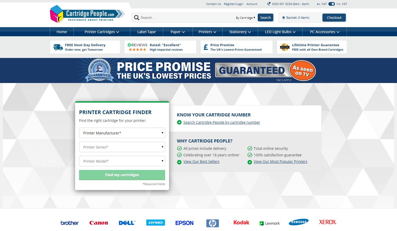 Cartridge People Homepage Screenshot