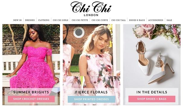 Chi Chi London Homepage Screenshot