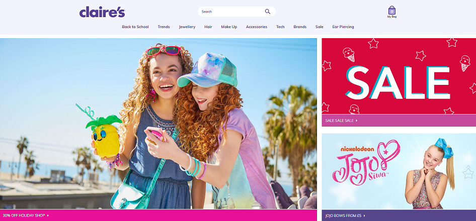 Claire's Homepage Screenshot