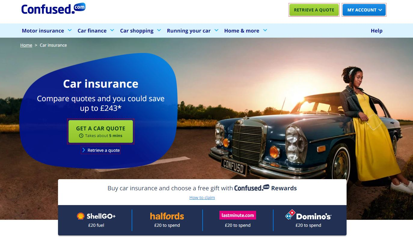 Confused.com Car Insurance Homepage Screenshot
